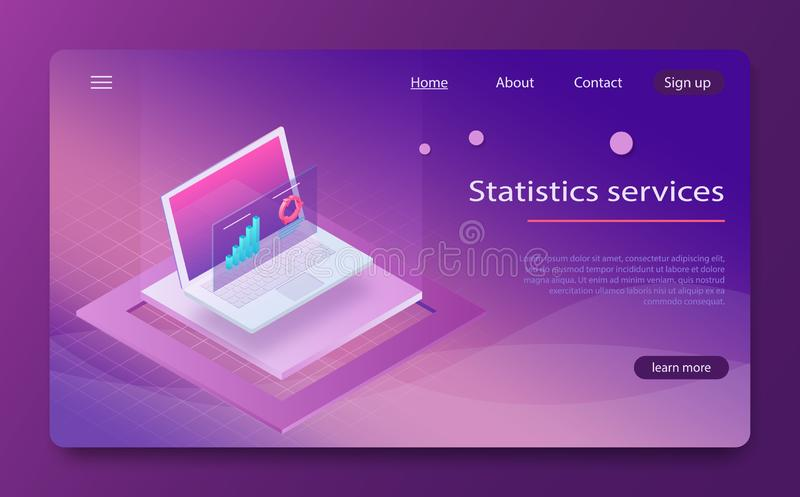 Affärsledning och statistik, fördelning av illustrationen för vecotr för budgetservice den isometriska stock illustrationer
