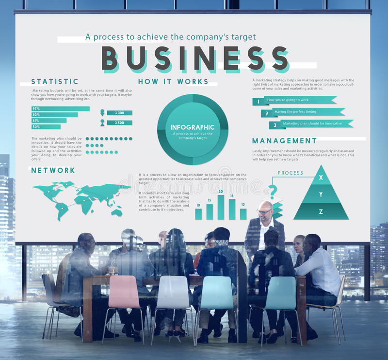 Affärsledning som marknadsför globalt planbegrepp royaltyfri illustrationer