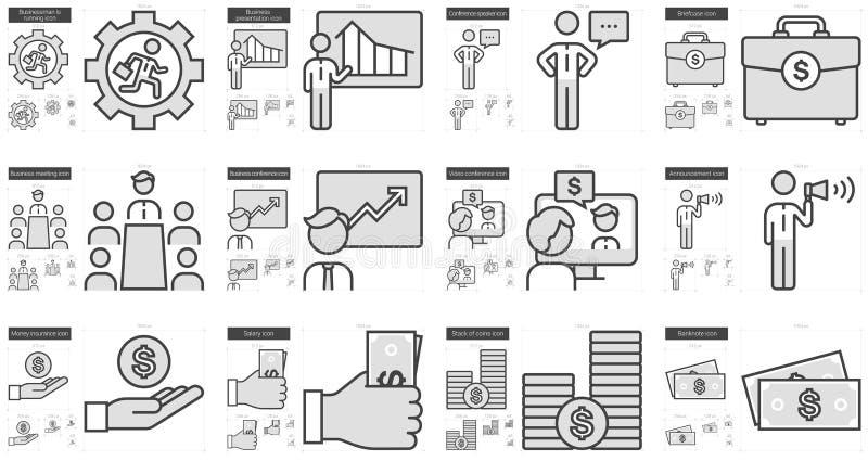 Affärslinje symbolsuppsättning vektor illustrationer