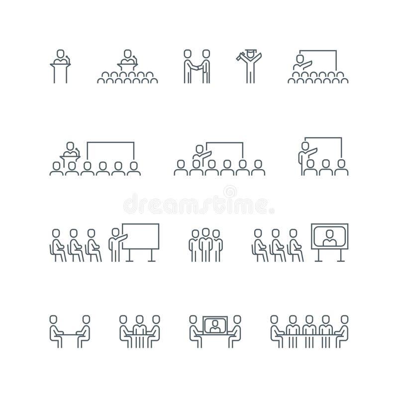 Affärslinje symbolsuppsättning royaltyfri illustrationer