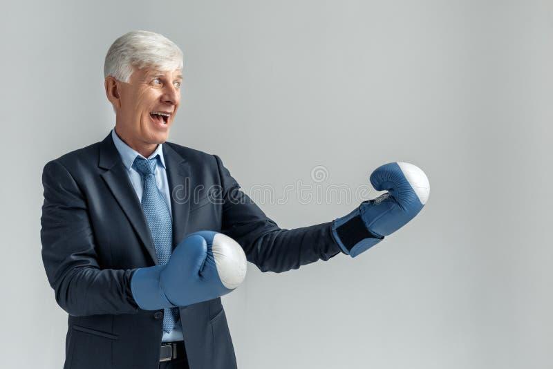 Affärslivsstil Affärsman i att boxas anseende som isoleras på grå färger som ser åt sidan spännande klart att slåss royaltyfri fotografi