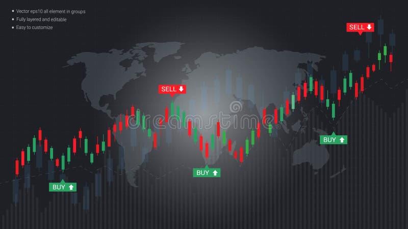 Affärsljusstake och finansiellt grafdiagram stock illustrationer