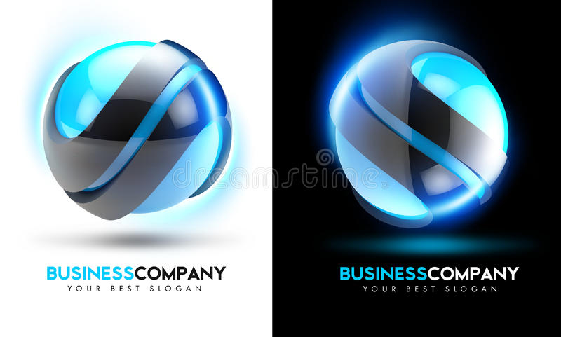 affärslogo för blått 3D