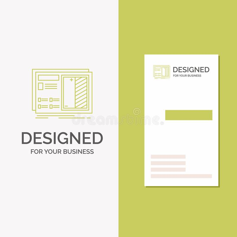 Affärslogo för ritning, design, teckning, plan, prototyp Vertikal gr?n aff?rs-/visitkortmall id?rikt vektor illustrationer
