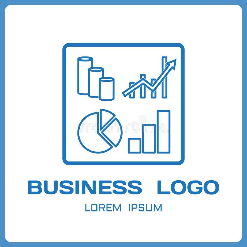 Affärslogo från finansiella diagram och indikatorer Beståndsdelar av infographicsen i linjär förenklad stil vektor vektor illustrationer