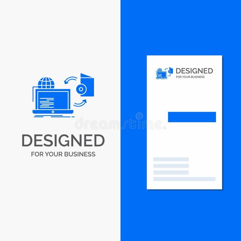 Affärslogoen för diskett, spelar, publicerar direktanslutet och att publicera Vertikal bl? aff?rs-/visitkortmall vektor illustrationer