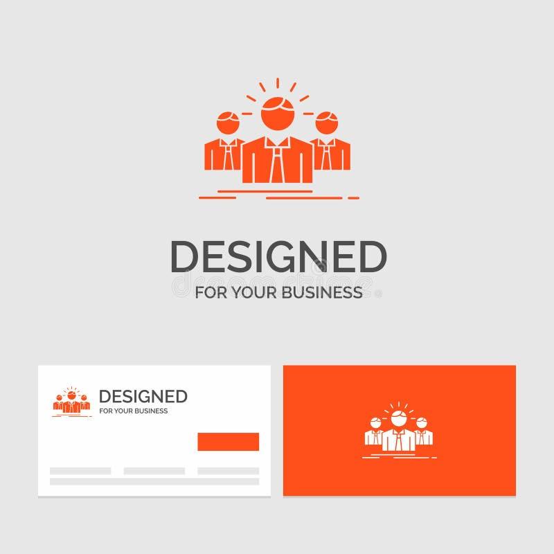 Affärslogomall för affären, karriär, anställd, entreprenör, ledare Orange visitkortar med m?rkeslogomallen stock illustrationer