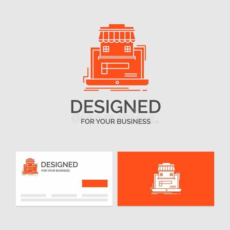 Affärslogomall för affären, marknadsplats, organisation, data, online-marknad Orange visitkortar med m?rkeslogo stock illustrationer