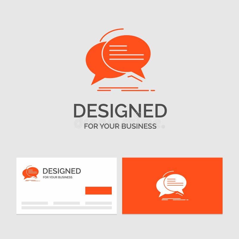 Affärslogomall för bubblan, pratstund, kommunikation, anförande, samtal Orange visitkortar med m?rkeslogomallen royaltyfri illustrationer