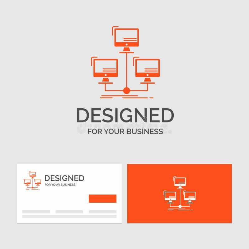 Affärslogomall för databas som fördelas, anslutning, nätverk, dator Orange visitkortar med m?rkeslogomallen vektor illustrationer
