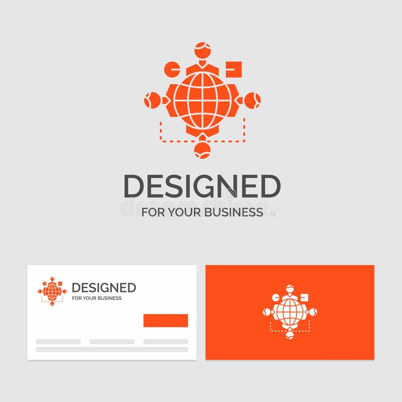 Affärslogomall för funktionen, anvisning, logik, operation, möte Orange visitkortar med m?rkeslogomallen stock illustrationer
