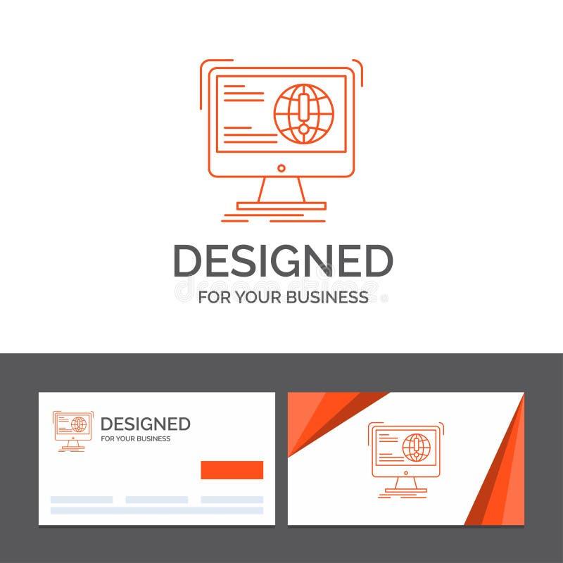 Affärslogomall för information, innehåll, utveckling, website, rengöringsduk Orange visitkortar med m?rkeslogomallen royaltyfri illustrationer