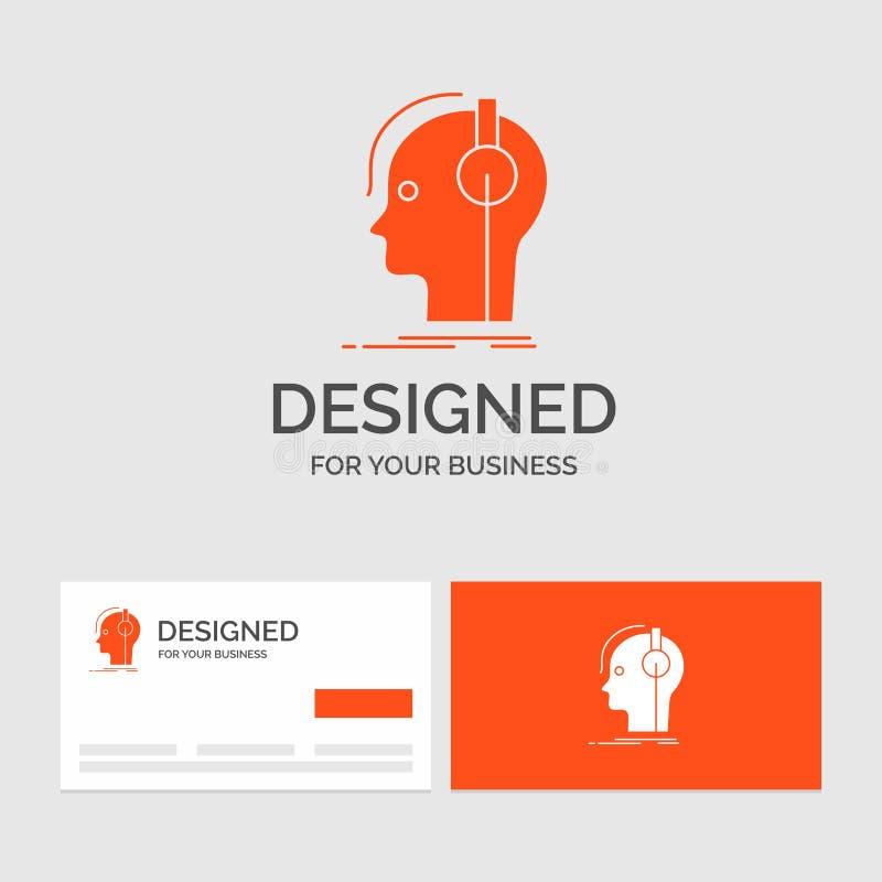 Affärslogomall för kompositören, hörlurar, musiker, producent, ljud Orange visitkortar med m?rkeslogomallen royaltyfri illustrationer