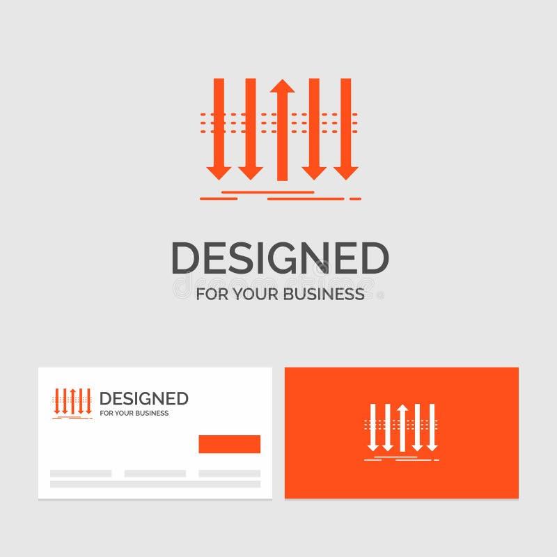 Affärslogomall för pil, affär, skillnad som är framåt, egenart Orange visitkortar med m?rkeslogomallen stock illustrationer