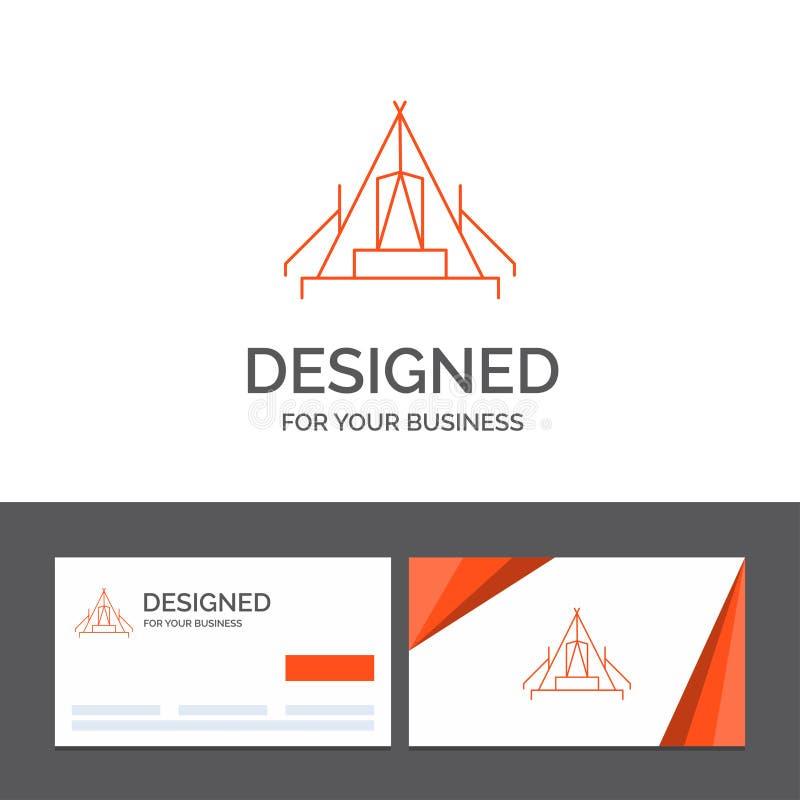 Affärslogomall för tält som campar, läger, campingplats som är utomhus- Orange visitkortar med m?rkeslogomallen stock illustrationer