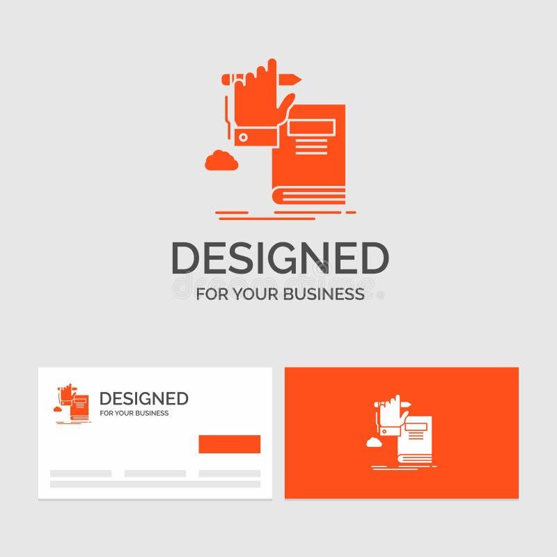 Affärslogomall för utbildning, kunskap som lär, framsteg, tillväxt Orange visitkortar med m?rkeslogomallen royaltyfri illustrationer