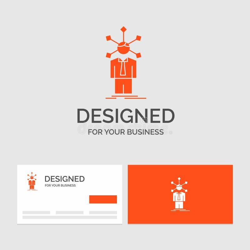 Affärslogomall för utveckling som är mänsklig, nätverk, personlighet, själv Orange visitkortar med m?rkeslogomallen vektor illustrationer
