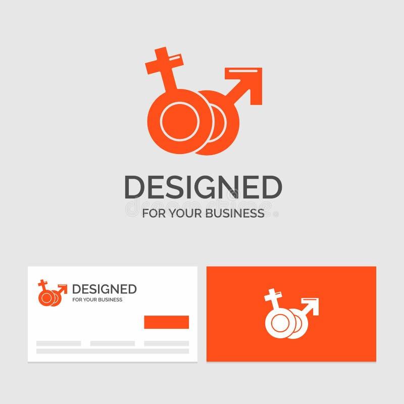 Affärslogomallen för genus, Venus, fördärvar, manligt, kvinnligt Orange visitkortar med m?rkeslogomallen stock illustrationer