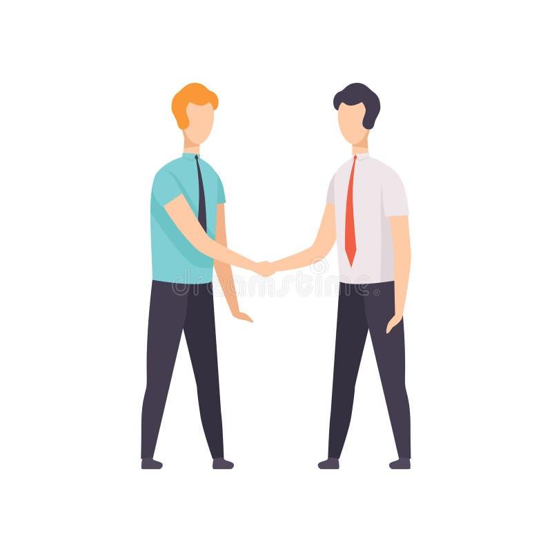 Affärsmän är handshaking, begreppet för affärsmötet, lyckade affärstecken på arbetsvektorillustrationen på a royaltyfri illustrationer
