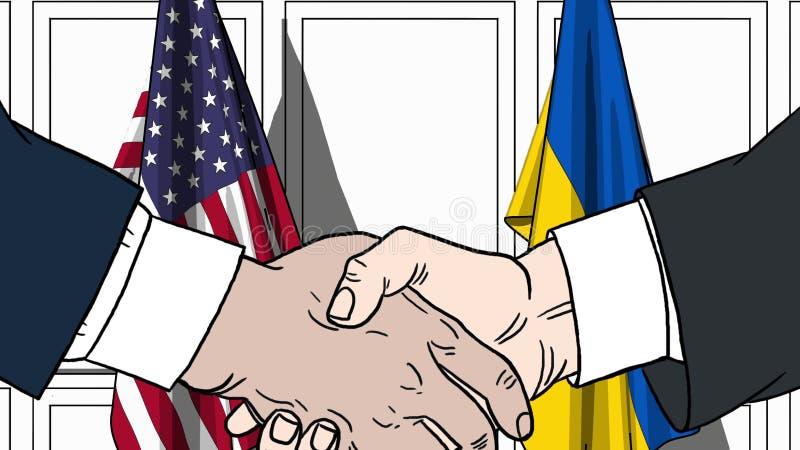 Aff?rsm?n eller politiker skakar h?nder mot flaggor av USA och Ukraina Officiellt m?te eller sl?kt tecknad film f?r samarbete stock illustrationer