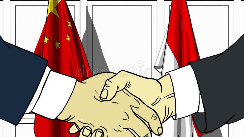 Affärsmän eller politiker som skakar händer mot flaggor av Kina och Indonesien Möte eller släkt tecknad film för samarbete royaltyfri illustrationer