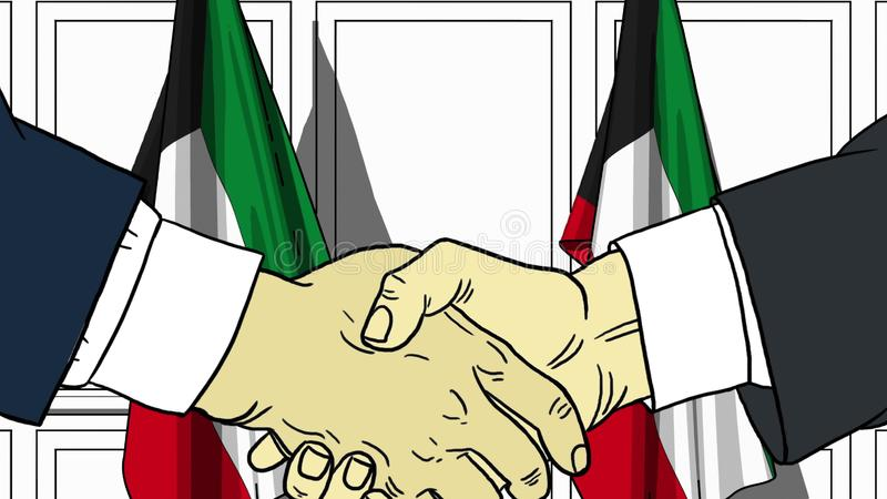 Aff?rsm?n eller politiker som skakar h?nder mot flaggor av Kuwait F?r m?te eller sl?kt tecknad filmillustration f?r samarbete stock illustrationer