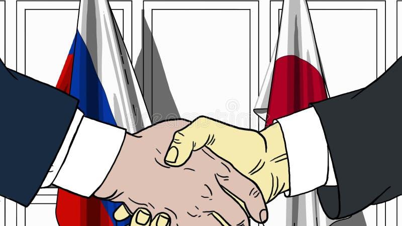 Affärsmän eller politiker som skakar händer mot flaggor av Ryssland och Japan Möte eller släkt tecknad film för samarbete vektor illustrationer