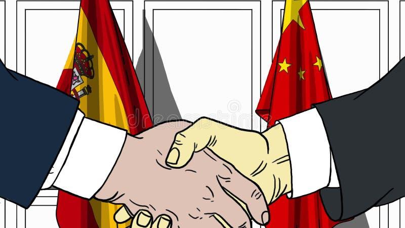 Affärsmän eller politiker som skakar händer mot flaggor av Spanien och Kina Möte eller släkt tecknad film för samarbete stock illustrationer