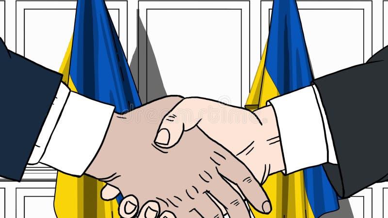 Aff?rsm?n eller politiker som skakar h?nder mot flaggor av Ukraina F?r m?te eller sl?kt tecknad filmillustration f?r samarbete royaltyfri illustrationer