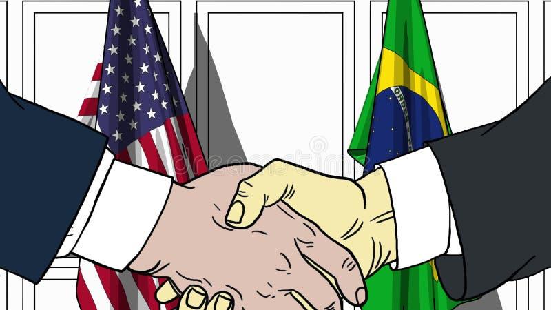 Affärsmän eller politiker som skakar händer mot flaggor av USA och Brasilien Möte eller släkt tecknad film för samarbete vektor illustrationer