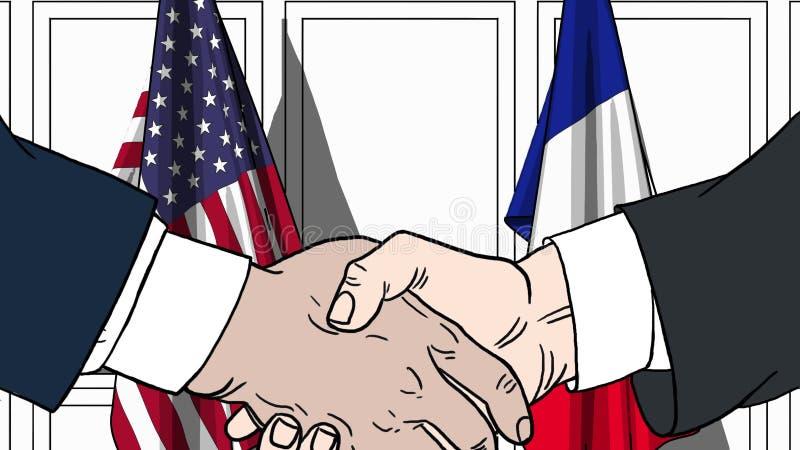 Affärsmän eller politiker som skakar händer mot flaggor av USA och Frankrike Möte eller släkt tecknad film för samarbete stock illustrationer