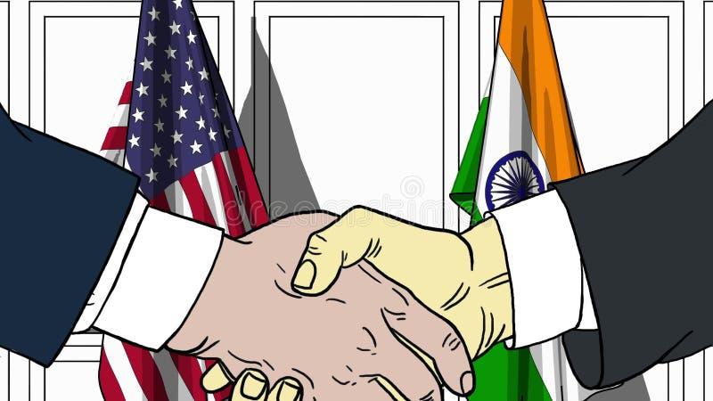 Affärsmän eller politiker som skakar händer mot flaggor av USA och Indien Möte eller släkt tecknad film för samarbete vektor illustrationer