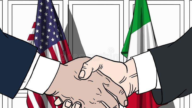 Affärsmän eller politiker som skakar händer mot flaggor av USA och Italien Möte eller släkt tecknad film för samarbete royaltyfri illustrationer