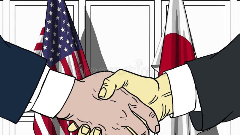 Affärsmän eller politiker som skakar händer mot flaggor av USA och Japan Möte eller släkt tecknad film för samarbete royaltyfri illustrationer