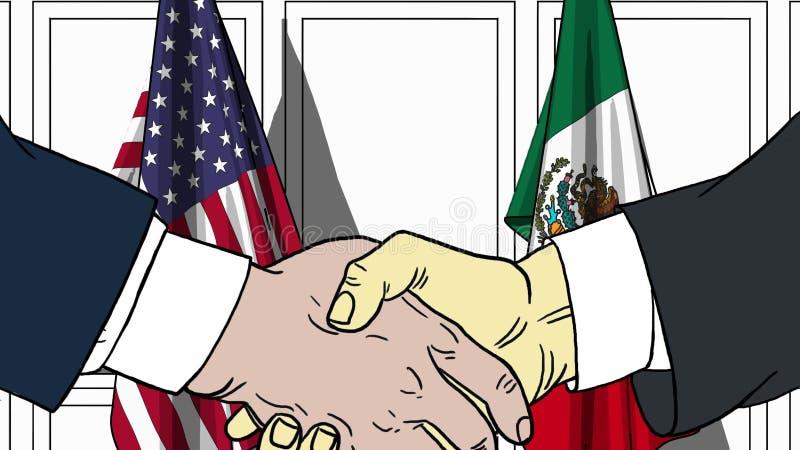 Affärsmän eller politiker som skakar händer mot flaggor av USA och Mexico Möte eller släkt tecknad film för samarbete vektor illustrationer
