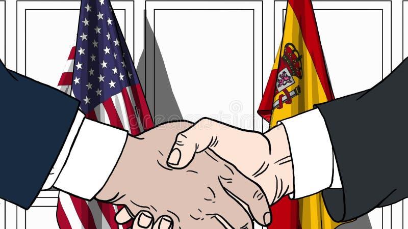 Affärsmän eller politiker som skakar händer mot flaggor av USA och Spanien Möte eller släkt tecknad film för samarbete royaltyfri illustrationer