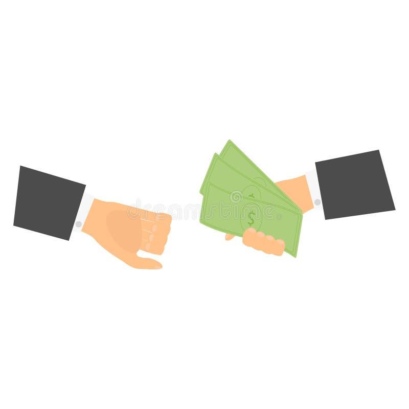 Affärsmän ger pengar royaltyfri illustrationer