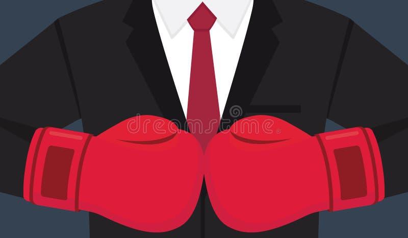 Affärsmän med boxninghandsken Affärsutmaningillustration royaltyfri illustrationer