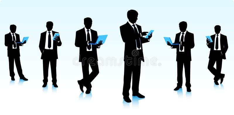 Affärsmän med datorer stock illustrationer
