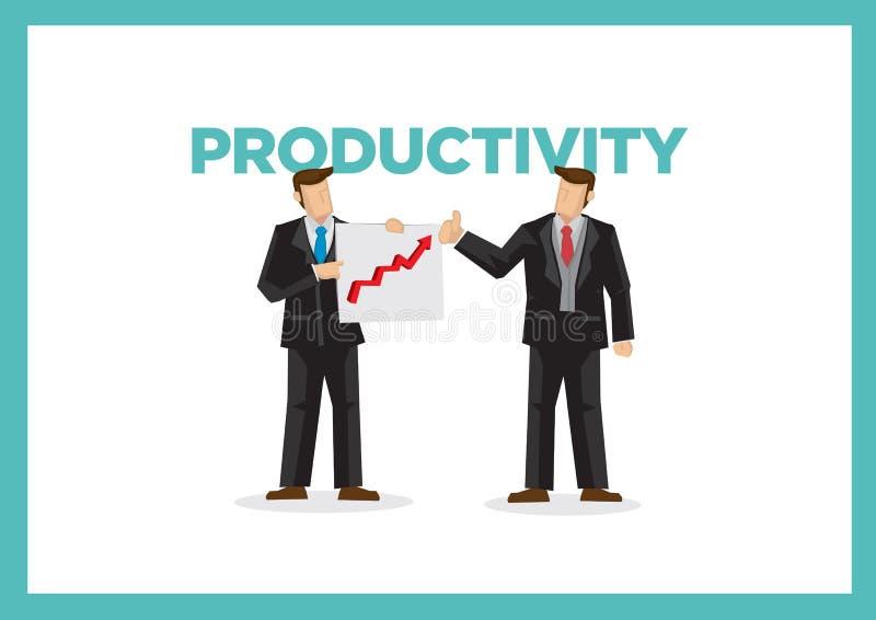 Affärsmän med grafen och produktivitet Begrepp av att förbättra kapacitet och företags effektivitet vektor illustrationer