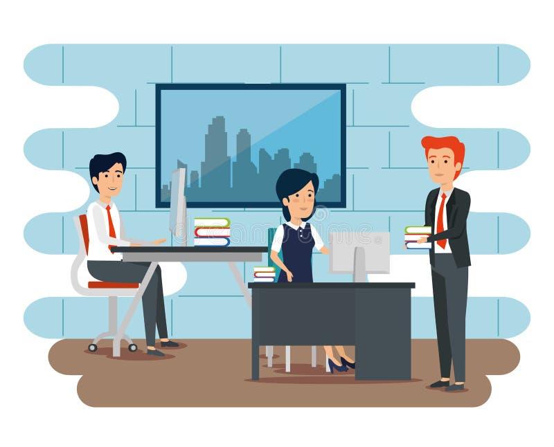 Affärsmän och plan för affärskvinnateamworkstrategi vektor illustrationer
