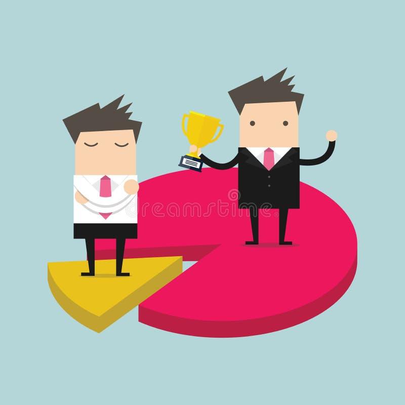 Affärsmän på skillnadstycken av pajdiagrammet marknadsandelbegrepp vektor illustrationer