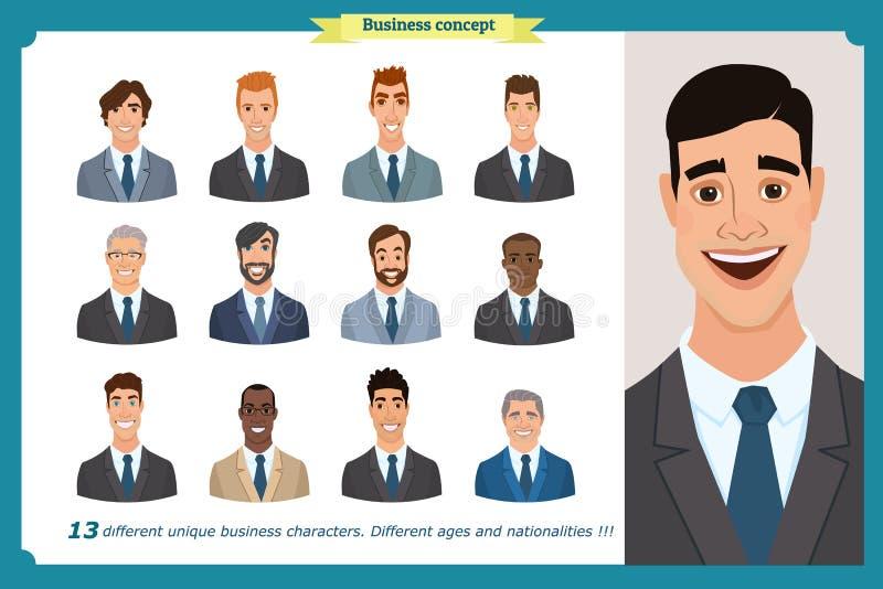 Affärsmän sänker avatars ställde in med att le framsidan lagsymbolssamling royaltyfri illustrationer