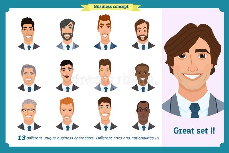 Affärsmän sänker avatars ställde in med att le framsidan lagsymbolssamling stock illustrationer
