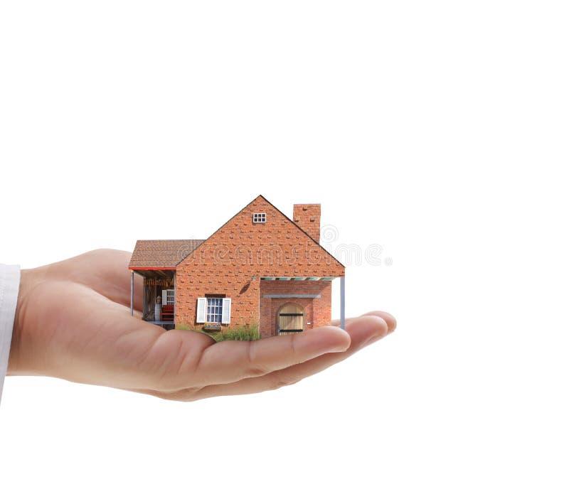Affärsmän skyddar ditt hus royaltyfri illustrationer