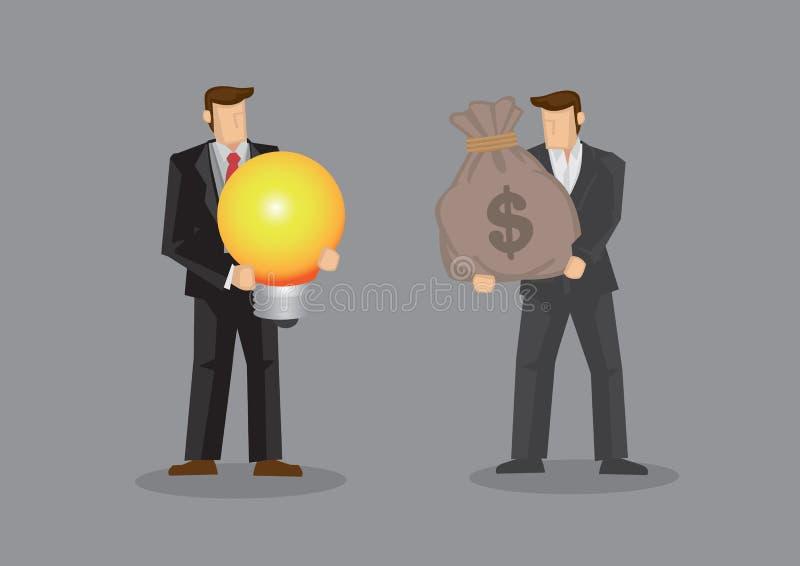 Affärsmän som använder pengar för att utbyta för en idévektor Illustrat stock illustrationer