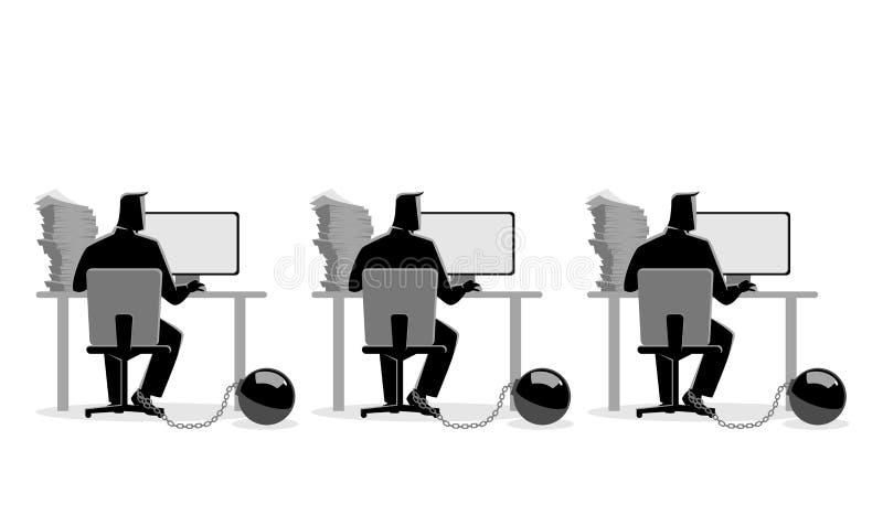 Affärsmän som arbetar på datorer som kedjas fast in i järnboll stock illustrationer