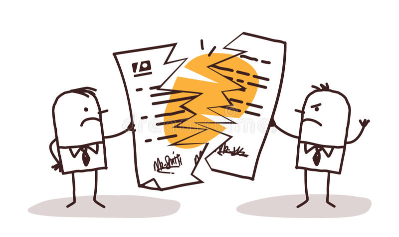 Affärsmän som bryter ett avtal vektor illustrationer