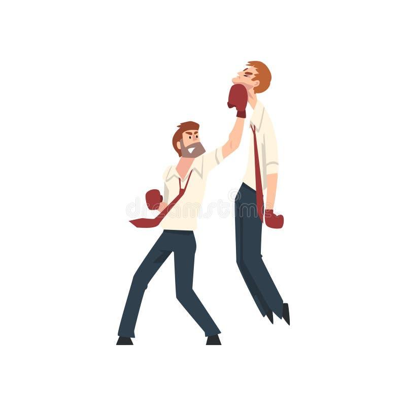 Affärsmän som har kamp med boxninghandskar, affärsfolk som konkurrerar bland dem, affärskonkurrensvektor vektor illustrationer