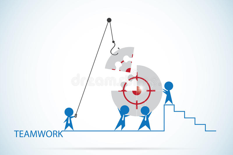 Affärsmän som monterar målsymbolet på pussel, teamwork och affärsidé royaltyfri illustrationer